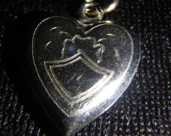 vintage sterling silver puffy  heart locket pendant charm