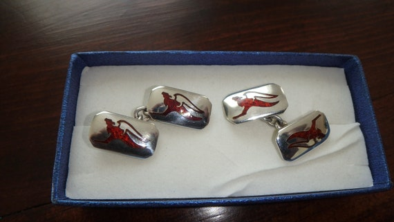 SENA sterling silver red enamel winged dragon cuff links vintage  cufflinks signed  925