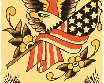 bfdb485b8 11 x 17 All American USA Flag and Eagle Military Sailor Jerry Style Flash  Poster Print decoration