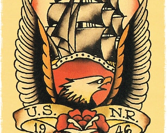 dde3844a7 11 x 17 Bald Eagle Ship US NR 1946 Navy boat Sailor Jerry Style FLash  Poster Print