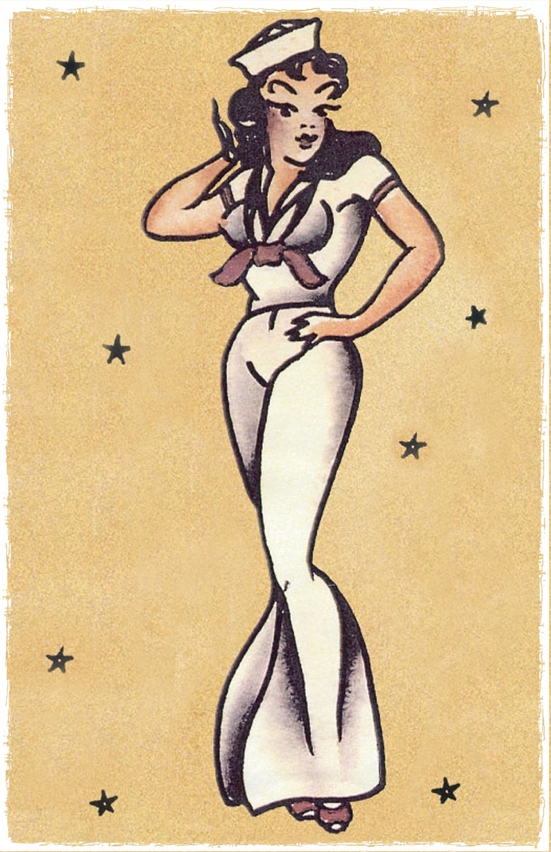 Navy 1 Large vintage Sailor Jerry Traditional style tattoo Pin Up poster print
