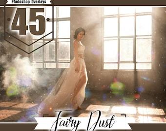 45 Fairy dust photo overlays, Photoshop overlay, floating dust overlay, digital backdrop background, realistic effect, Photo layer JPG files