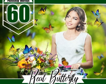 60 Butterfly Overlays Photoshop, photography overlays, natural flying Butterflies, spring summet session, digital overlays,  png file