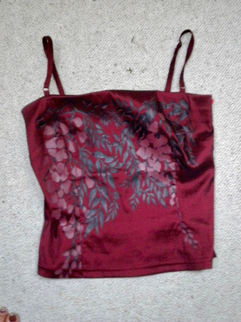 Women/'s Summer Outfit Asian XS SpaghettiStraps Top Vintage Satin Plum Burgundy Teen XS Dress long skirt Party Dress Cocktail Elegant Evening
