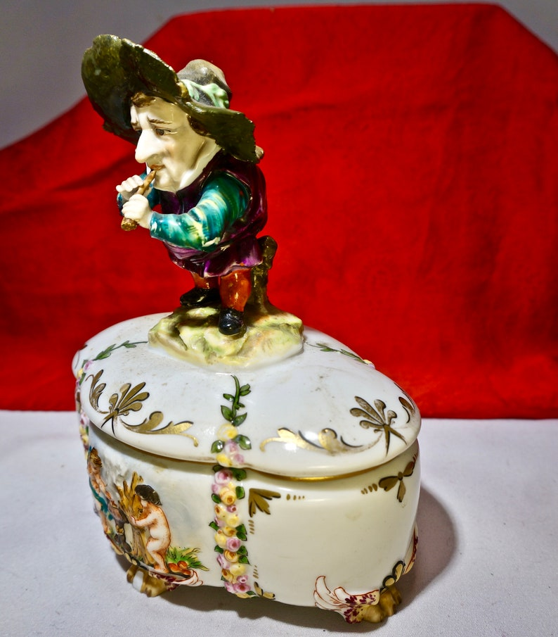 Antique Ceramic Box Rare Capo diMonte style unique Dwarf figure object d/'art trinket box Italian porcelain Luxury Birthday Collectors gift