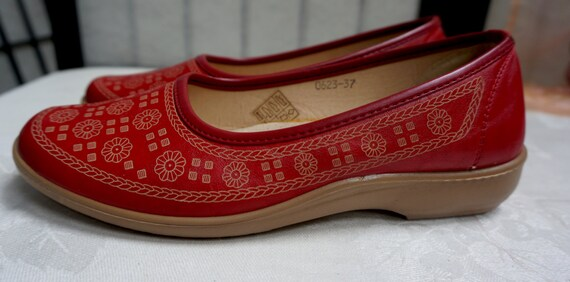 RED LEATHER SPANISH Shoes, women's red shoes, wome