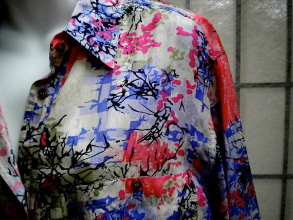 VINTAGE XL Silk SHIRT Blouse Unisex Multi Coloured