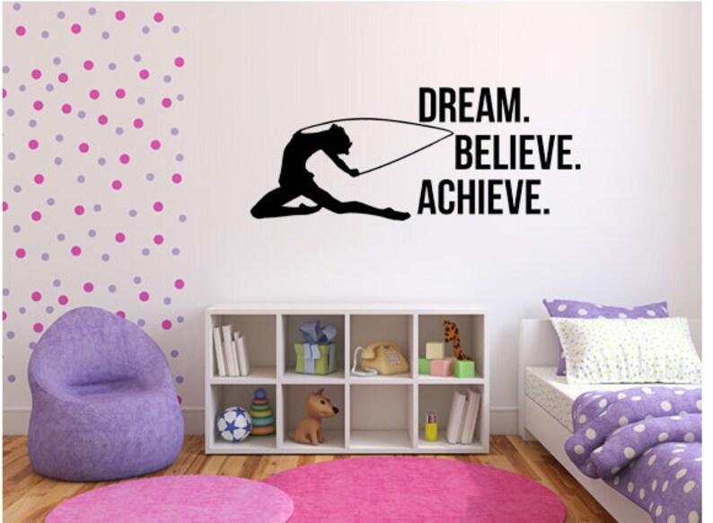 Dream Believe Achieve Motivation Decal  Gymnast Wall Art image 0