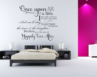 Once Upon A Time I Became Yours, Marriage Wall Decal, Romantic Art, Romantic Wall Art, Wedding Decal, Wedding Decals, Custom Wedding