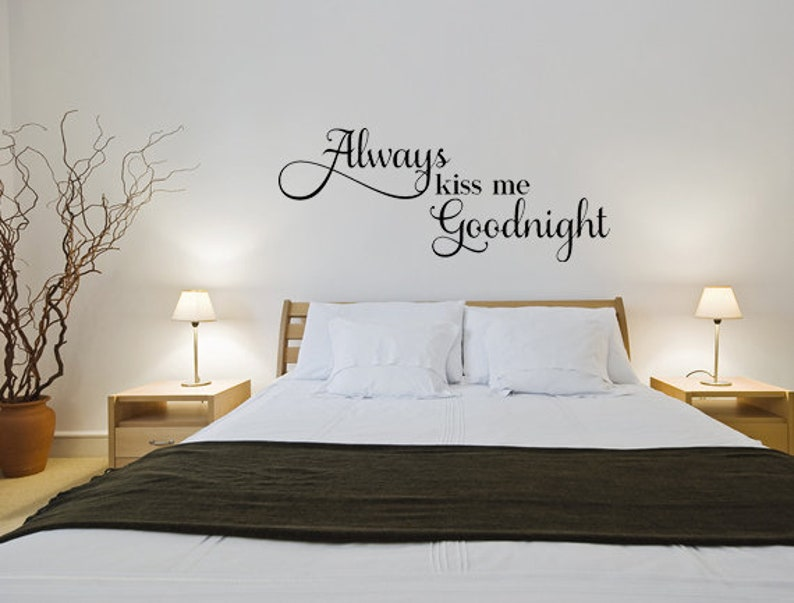 always kiss me goodnight wall quote marriage wall decal   etsy