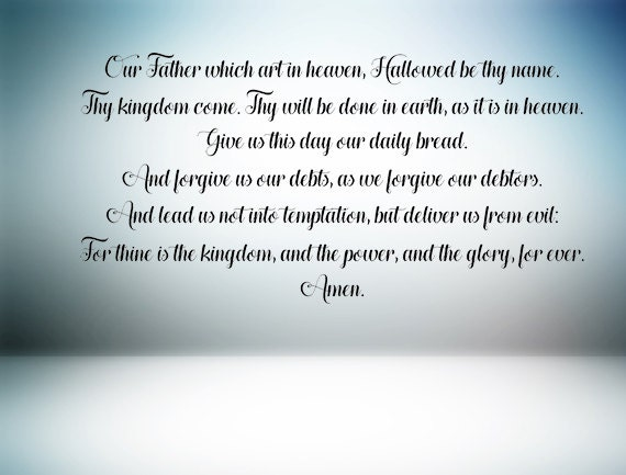 the lord s prayer wall decal our father prayer prayer etsy