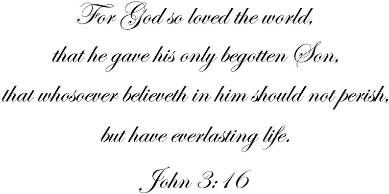 For God So Loved The World John 316 Wall Quote Inspirational Etsy