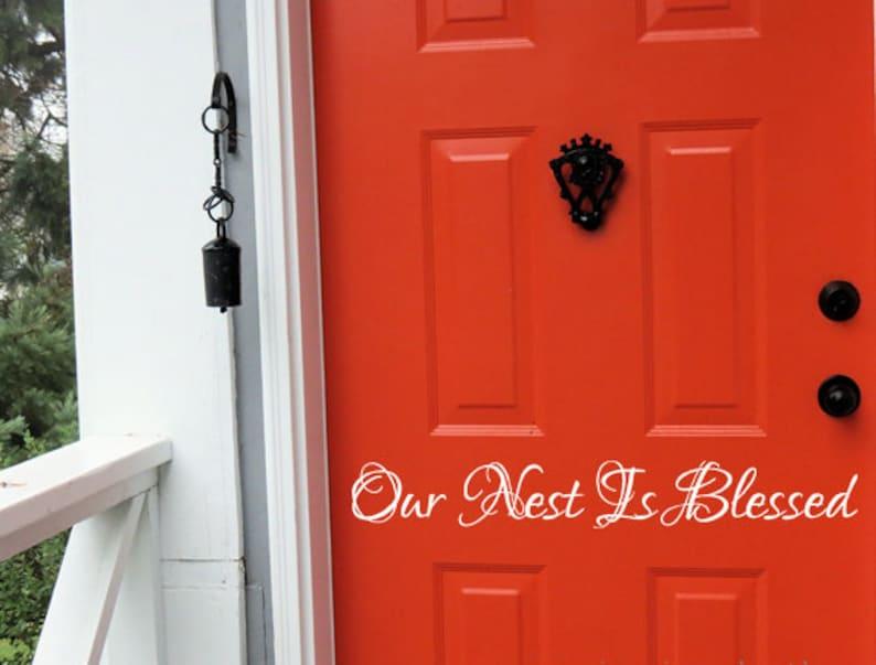 Our Nest Is Blessed Vinyl Decal Entryway Decor Front Door Decal Vinyl Door Decals Vinyl Wall Art, Door Vinyl