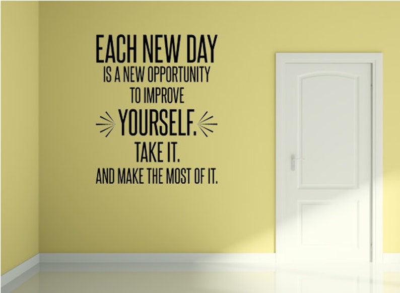 Each New Day Motivational Fitness Morning Inspiration Decal image 0