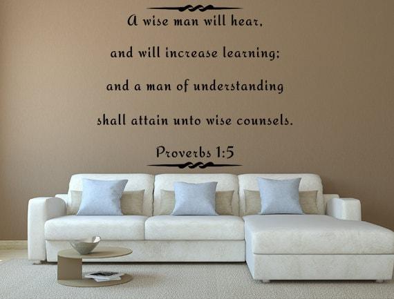 proverbs 1:5 wall decal custom wall decals custom vinyl decal | etsy