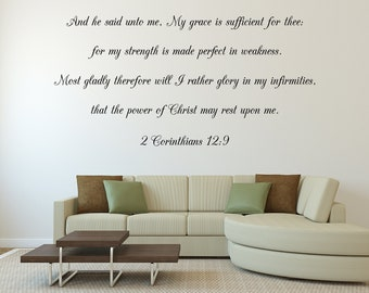 My Grace Is Sufficient Christian Wall Decal Sticker - Living Room Inspirational Bible Verse - Scripture Wall Sign Quote