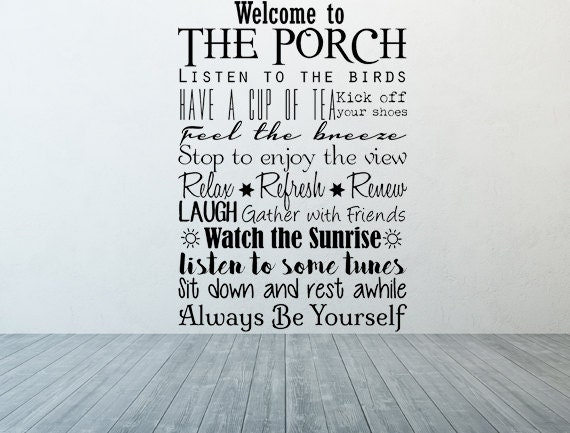 Welcome To The Porch Vinyl Wall Decal Porch Rules Decal Etsy