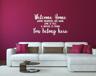Welcome Home Wall Art Decal Sticker  You Belong Here - Memories Inspirational Decal