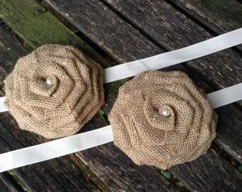 Burlap Flower / Burlap Curtain Tie Back / Rustic Home Decor / Shabby Chic Burlap Flower / Shabby Chic Home Decor