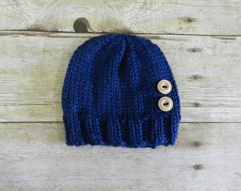 Knit Newborn Hat - Photo Prop - Hospital Hat - Knit Newborn Beanie - Newborn Hat - Knit Blue Hat - Knit Baby Hat - Classic Beanie