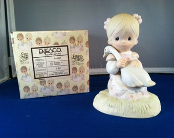God Is Love, Precious Moments Figurine, Girl holding goose on lap