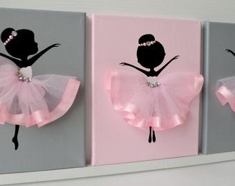 Ballerina nursery wall art.  Pink and grey ballerina decor.