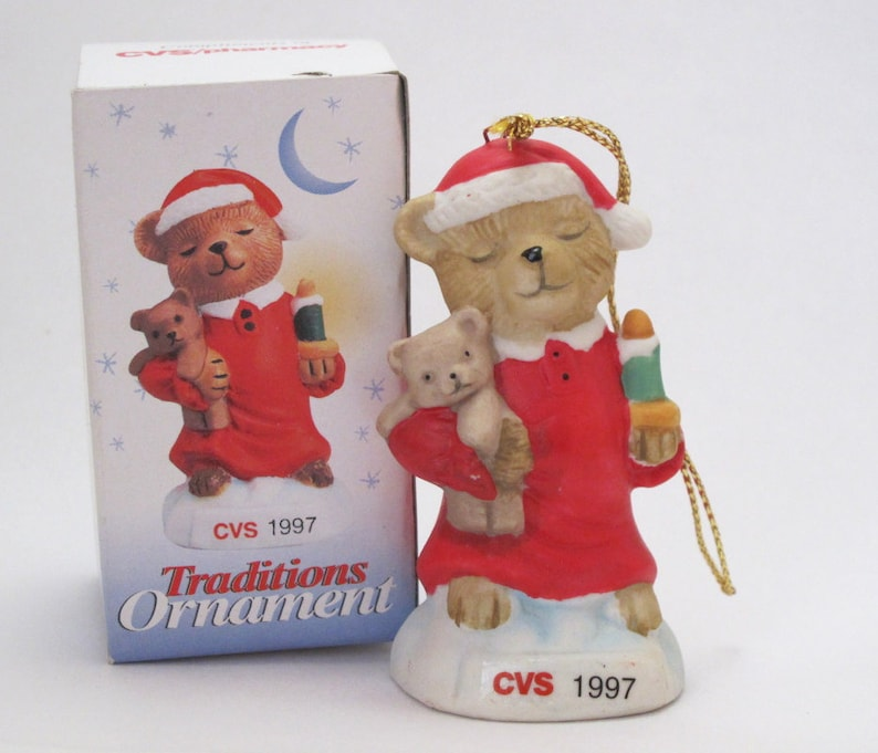 890a61a7696df Vintage 1997 CVS Pharmacy Traditions Ornament for the Holidays Painted  Ceramic or Porcelain Christmas Teddy Bear with Candle