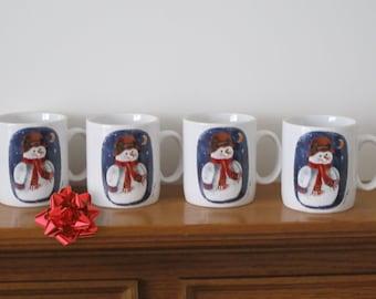 Vintage 1997 Ceramic Elaine Thompson Snowman Mug Gift Set of Four Winter Christmas Fun for Coffee, Tea, Hot Cocoa, or Eggnog MINT LIKE NEW
