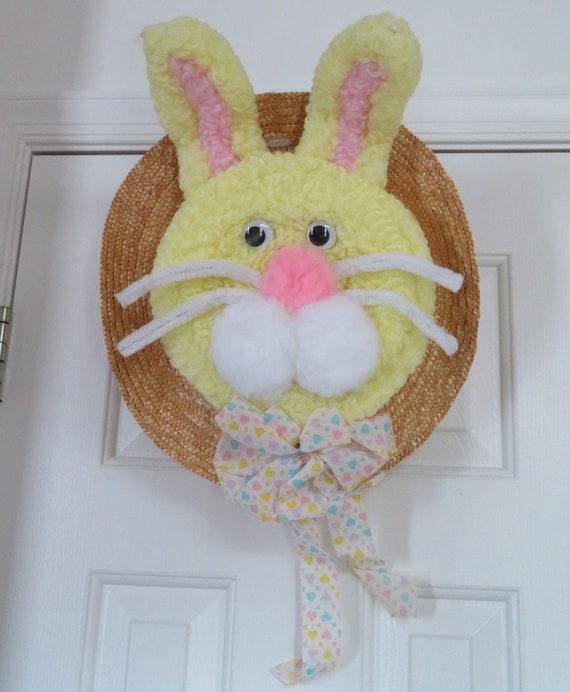 decortive ester ccents easter rabbit decor bunny.htm vintage 1980s easter hat bunny wreath home decor colorful etsy  vintage 1980s easter hat bunny wreath