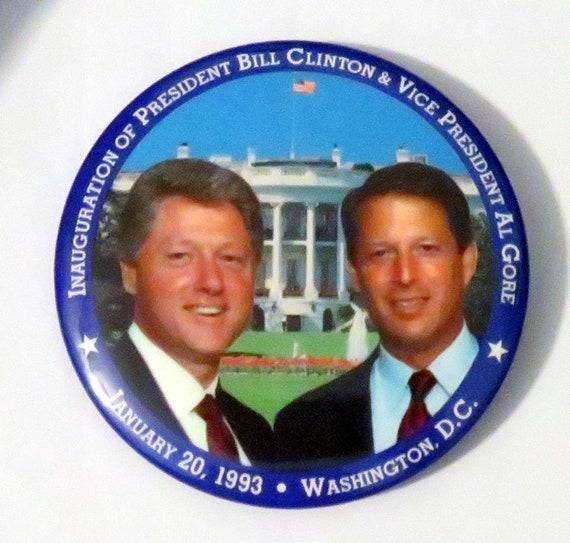 POLITICAL CAMPAIGN BUTTON PIN BILL CLINTON AL GORE LABOR FOR 1996 2 INCHES ROUND
