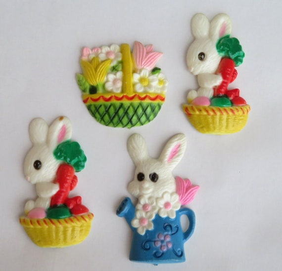 decortive ester ccents easter rabbit decor bunny.htm vintage 1980s easter magnet set for the fridge made in hong etsy  vintage 1980s easter magnet set for the
