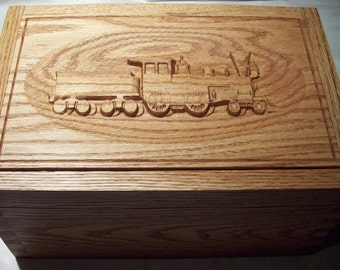 Steam Train Cigar Humidor, carved Oak