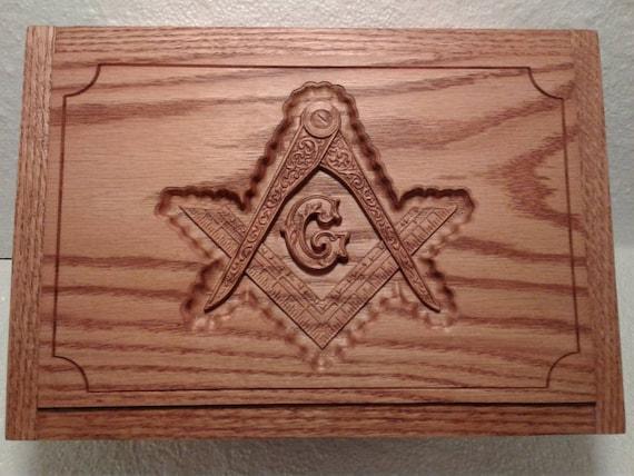 Masonic Cigar Humidor Carved Oak Etsy
