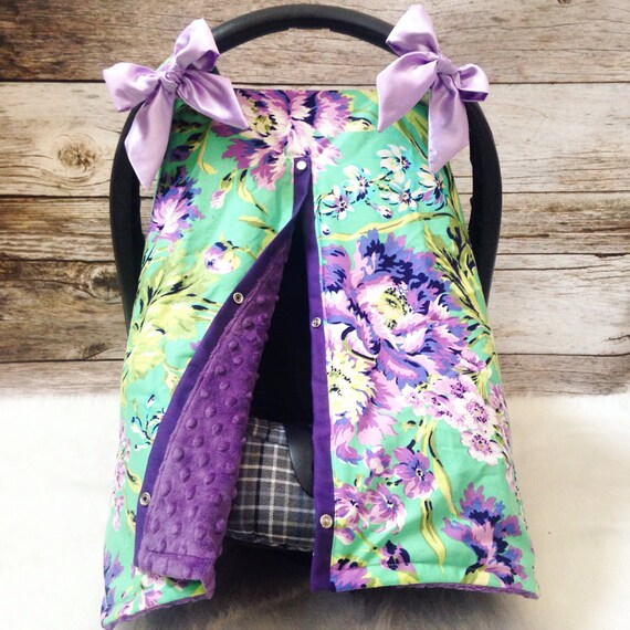 Purple Green Floral Car Seat Canopy Satin Bow Minky