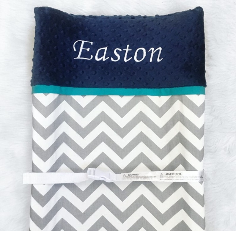 teal grey chevron navy boy changing pad cover personalized Grey teal trim and navy minky dot