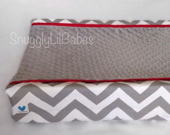 Grey chevron, red changing pad cover with grey minky dot