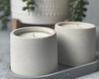 Concrete soy wax candle with concrete tray, cement art, soy wax candle, vegan candle