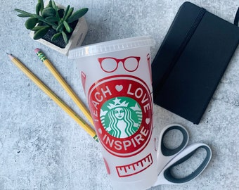 Custom Starbucks | Reusable Venti 24 oz Frosted Iced | Cold Drink Cup with Lid and Green Straw | Teacher appreciation gift