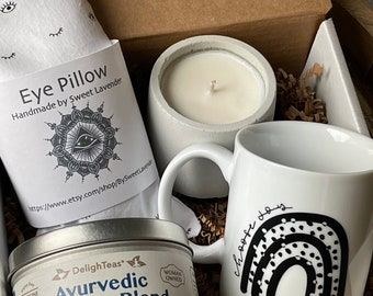 Rise and shine gift box, Ayurveda coffee, organic, gluten free, soy candles