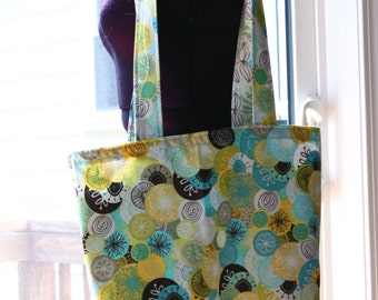 Reversible Tote with Abstract Florals in Blues and Greens