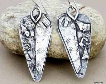 Sterling Silver Asymmetrical Fused Heart Earrings