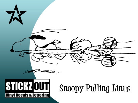 SNOOPY Pulling Linus Vinyl Decal Sticker Auto Graphics 2/' Long Add Text Free