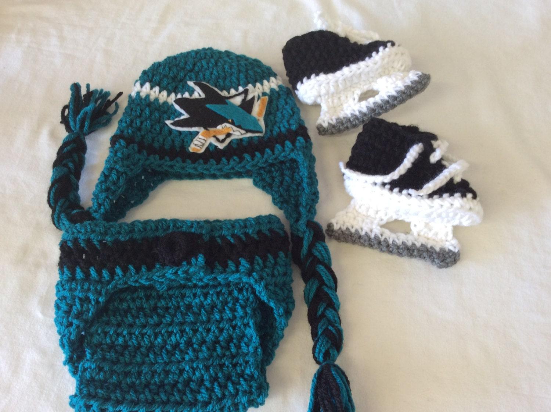 San Jose Sharks Baby Crochet Hockey Earflap Hat Diaper Cover Etsy