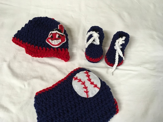 Cleveland Indians Baby Crochet Baseball Cap Diaper Cover Etsy