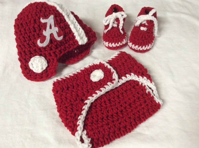 Alabama Crimson Tide Baby Crochet Football Helmet Diaper Etsy