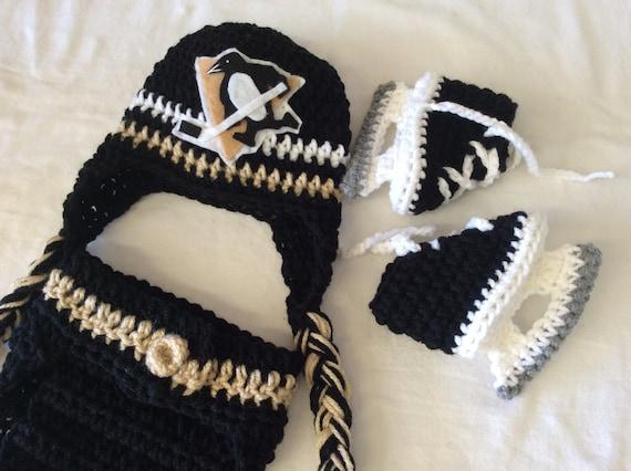 58f9c3d3b58 Pittsburgh Penguins Baby Crochet Hockey Earflap Hat Diaper