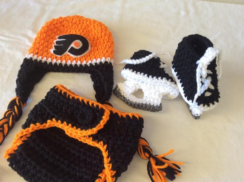 394d0611d24 Philadelphia Flyers Baby Crochet Hockey Earflap Hat Diaper