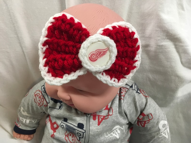 bf13a7a3b Detroit Red Wings Inspired - Crochet Baby Headband Bow