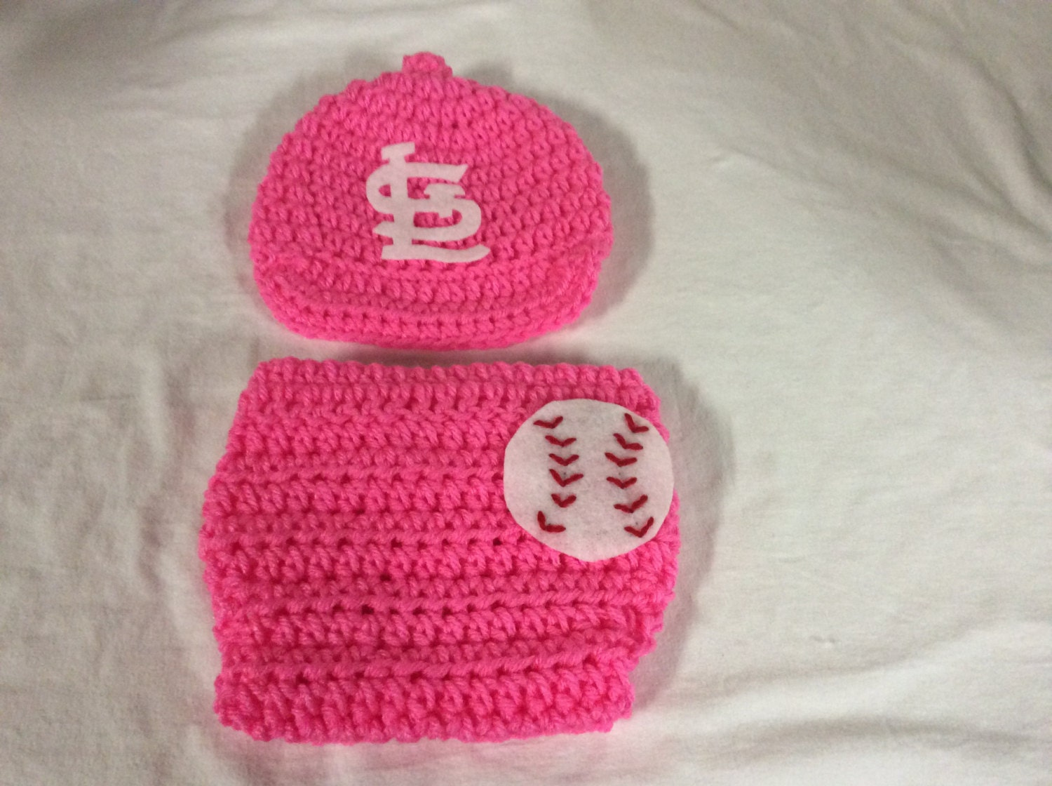 St Louis Cardinals Pink Baby Crochet Baseball Cap And Etsy