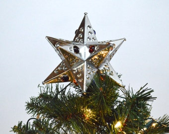 Christmas Tree Topper, Tin *Multi Colored Glass Bead* Star Tree Topper